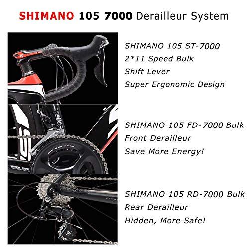 SAVADECK Carbon Rennrad, Herd 6.0 T800 Kohlefaser 700C Rennrad Shimano 105 R7000 Groupset 22 Geschwindigkeit Kohlenstoff Radsatz Sattelstütze Gabel Ultra-Licht Fahrrad (Rot Weiß, 44cm) - 4