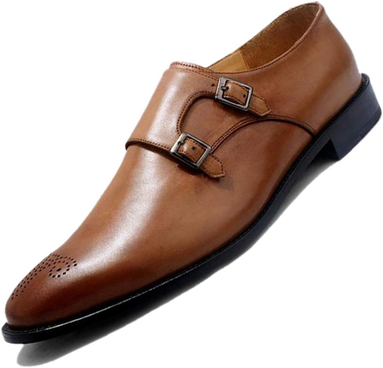 LZMEG Gelb Braun Schwarz Herren-Business-High-End-Schuhe Handgefertigt Spitz Schnalle Geschnitzt Atmungsaktiv