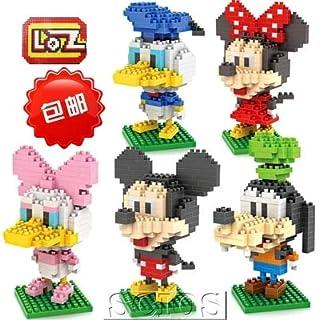 LOZ Mickey Mouse Minnie Donald Duck Gofy Daisy Set Style Diamond Mini Building Micro Block Brick Headz Baseplate Chistmas/Bithday Gifts for Kids Or Girls DIY Figure Bobble Head Disney Toys
