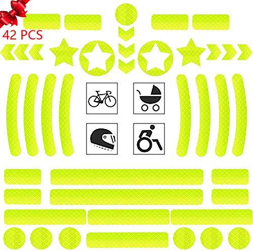 MBQMBSS Reflektoren Aufkleber Sticker 42 Stück Reflexfolie Set selbstklebend zur Sicherungsmarkierung von Kinderwagen,Fahrrad, Helmen mit Stickern, hochreflektierend, Gelb