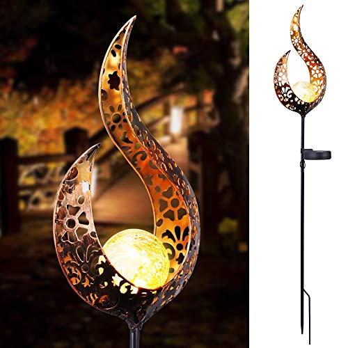 XIAODAN Solaire LED Flamme lumière étanche rétro Fer Jardin pelouse Lampe Jardin extérieur Paysage décor éclairage Soleil Lune Flamme Livraison directe