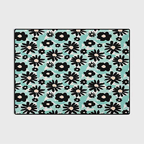 Floral Christmas Bathroom Rugs Patio Rugs Hand Painted Style Flowers on a Background of Green Brushstrokes Art dad Gifts for Christmas Mint Green Black Beige 6 x 7 Ft