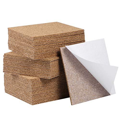 SUPVOX 80 Stück Cork Board Sheets für DIY Blank Cork Coasters Mat Dekorative Kork Wandfliesen Selbstklebende Cork Squares