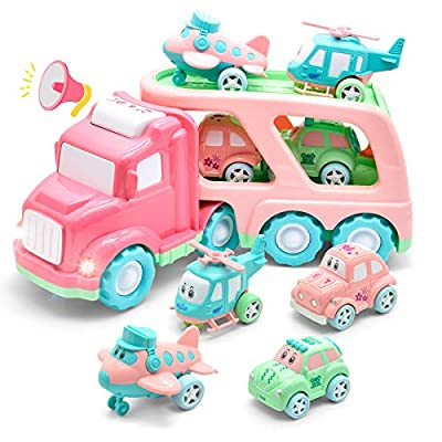 LASCOTON Cartoon Vehicles Toddler Girl Toys Friction Powered Pink Toy Car Carrier Transport Truck with Light & Sound 5 in 1 Toy Cars /Airplane /Helicopter Birthday Gift Toys for 1 2 Year Old Girl