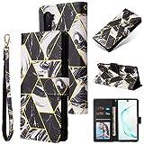 Shinyzone Custodia per Samsung Galaxy Note 10 Libro con Porta Carte,Cover Pelle Samsung Galaxy Note 10 Portafoglio Flip Stand TPU Antiurto Protettiva Caso,Marmo Doratura Nera