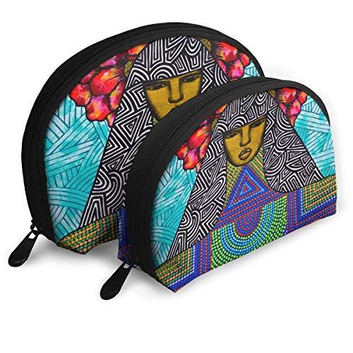 Trousse de Maquillage Art Africain-américain Portable Shell Embrayage Pochette pour Femmes Thanksgiving Day Gift 2 Pack