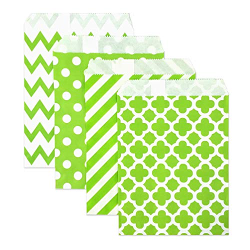 KEYYOOMY 100 Pcs Candy Buffet Bags Small Paper Treat Bags (Lime Green, 5 inch X 7 inch)