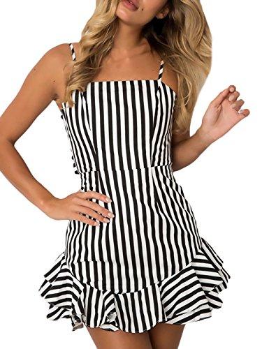 Vestidos Verano Mujer Elegante Tirantes Off Shoulder Espalda Abierta Ropa Dama Moderno Cortas Vestido Playa Casuales Moda Impresión Floral con Cordones con Volantes Fiesta Dress