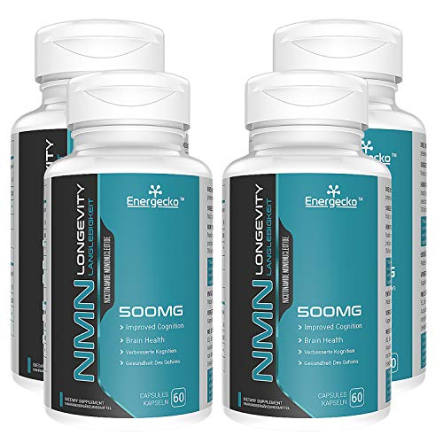 4 PCs NMN 500mg 60 Capsules - 60 Servings - High Absorption Nicotinamide Mononucleotide Supplement - Double The Usage time and Reduce The Purchase Cycle.
