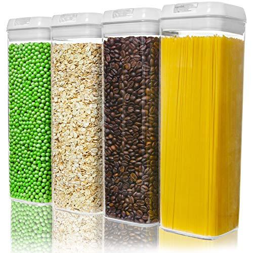 Numyton Stapelbare 4er-Set Frischhaltedosen mit Deckel BPA frei Vorratsdosen Lebensmitteldosen, Milchpulverdosen, Trockenfrüchte-Dosen luftdicht & wasserdicht, Weiß/Transparent
