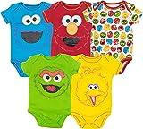 Sesame Street Baby Boy Girl 5 Pack Bodysuits - Elmo, Cookie Monster, Oscar and Big Bird (18 Months)