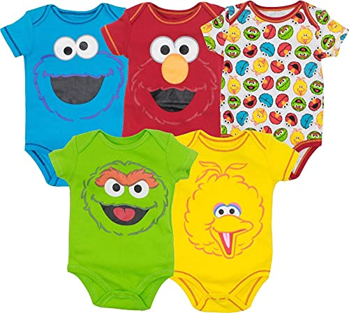 Sesame Street Baby Boy Girl 5 Pack Bodysuits - Elmo, Cookie Monster, Oscar and Big Bird Multi, 12 Months