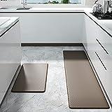 Color&Geometry Komfort Küchenläufer 2 Stück, rutschfeste Küchenteppich mit Ölfest und Wasserdicht PVC, Gummirücken Küchenmatte Teppichläufer für Esszimmer, Küche, Flur(45 x 75 cm+45 x 150 cm, Braun)