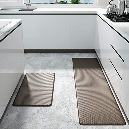 """Color&Geometry Kitchen Rug Non Skid Waterproof Kitchen mats Cushioned Anti Fatigue Standing Mat 17""""x29""""+17""""x59"""" Brown"""
