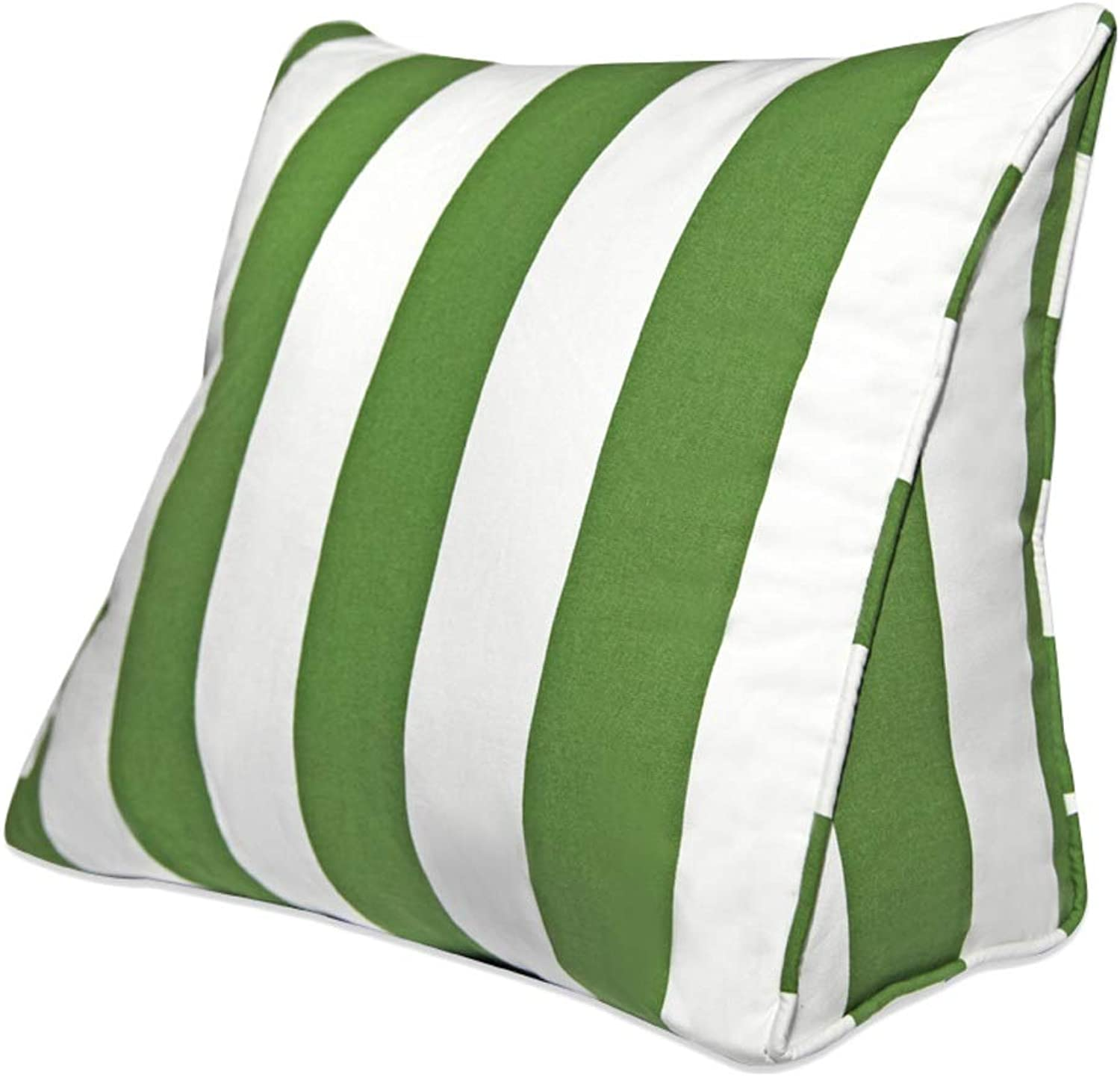 Triangle pad backrest pad Cotton Pillow Sofa Bed Office Chair Rest cushion (color   Green White, Size   L)