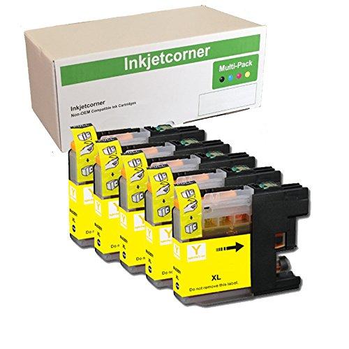 Inkjetcorner Compatible Ink Cartridges Replacement for LC203Y LC203XL for use with MFC-J460DW MFC-J480DW MFC-J485DW MFC-J680DW MFC-J880DW MFC-J885DW (Yellow, 5-Pack)