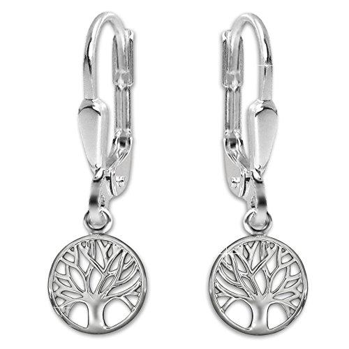 Clever Schmuck Silberne Damen Ohrhänger 26 mm Lebensbaum rund Ø 10 mm glänzend STERLING SILBER 925 im Magnet-Etui