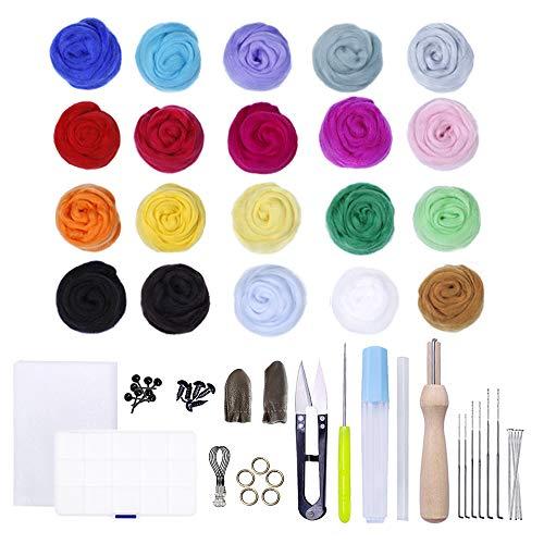 Zasiene Lana de Fieltro 69 PCS Lana Gruesa para Tejer con Las Manos with Fieltro de Lana Tool Kit para Artesanía de Bricolaje,(20 colores)