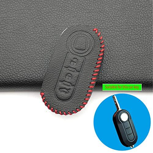 WQSNUB 3 Botones protegen el Ajuste del Tenedor de la Caja de la Cubierta de la Llave del Coche de Cuero de Shell, para Fiat Panda 500