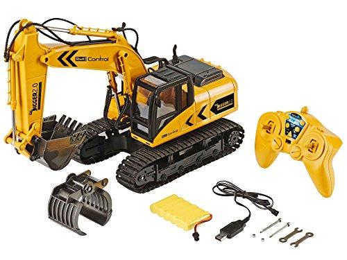 RC Baufahrzeug kaufen Baufahrzeug Bild 1: Revell 24924 RC Bagger mit 6-CH 2.4 GHz Fernsteuerung, Outdoor-tauglich, Schaufel und Baumgreifer aus Metall, griffiger Kettenantrieb, Originalgetreu, einzeln steuerbare Teile-Digger 2.0, bunt*