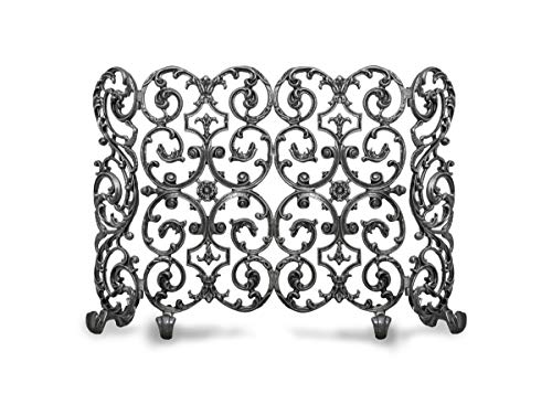 Best Review Of Ornamental Designs Avalon 2-Panel w/Sides Fireplace Screen Silver
