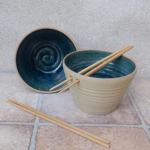 Pair of large noodle rice soup or cereal serving bowl wheel thrown in stoneware ceramic pottery handmade handthrown ready to ship