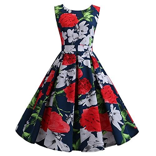 EMPERSTAR Frauen Vintage 50Er Jahre Ärmelloses Blumenkleid Damen Holiday Party Summer Beach Kleid Knielang Blau S