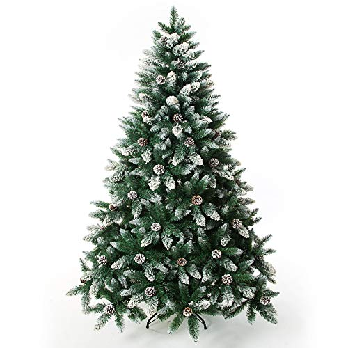 Artificial Christmas Tree 6,7 Foot Flocked Snow Trees with Pine Cone Decoration Unlit (5FT)