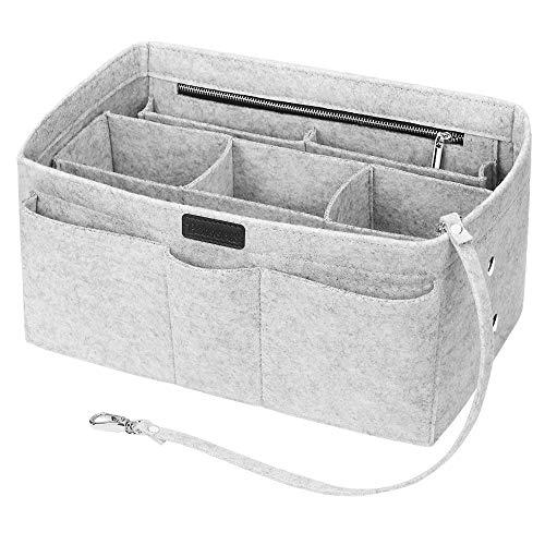 Handtaschen Organizer, Betoores Filz Taschenorganizer Bag in Bag Innentaschen Handtaschenordner mit Abnehmbare Reißverschluss-Tasche und Schlüsselkette,Hellgrau - M