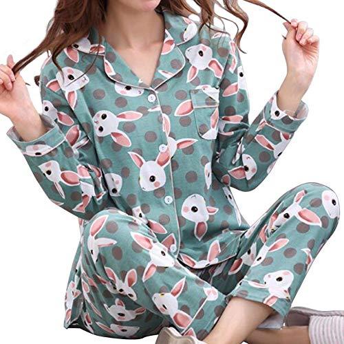 Damen Pyjama Set,Damen Winter Warmes Weiches Elegantes Nachthemd Grünes Kaninchen Mit V-Ausschnitt Lovely Print Oberteile Hose Nightwear Casual Thermal Homewear, L.