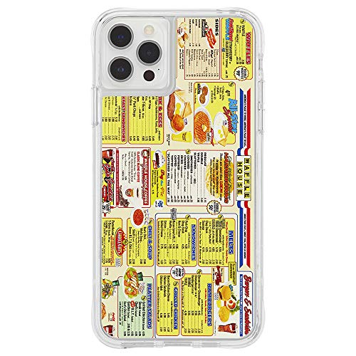 Waffle House x Case-Mate - Case for iPhone 12 and iPhone 12 Pro (5G) - Throwback Menu - 10 ft Drop Protection - 6.1 Inch - Clear