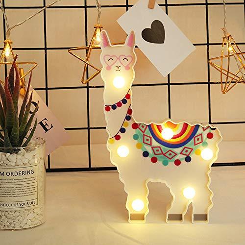 THE BEST DAY Lama Nuit lumière Cadeaux Enfants LED Peint lumière de Nuit en alpaga, Batterie exploité décor de vigogne pour Chambre à Coucher, Salon, Chambre de bébé