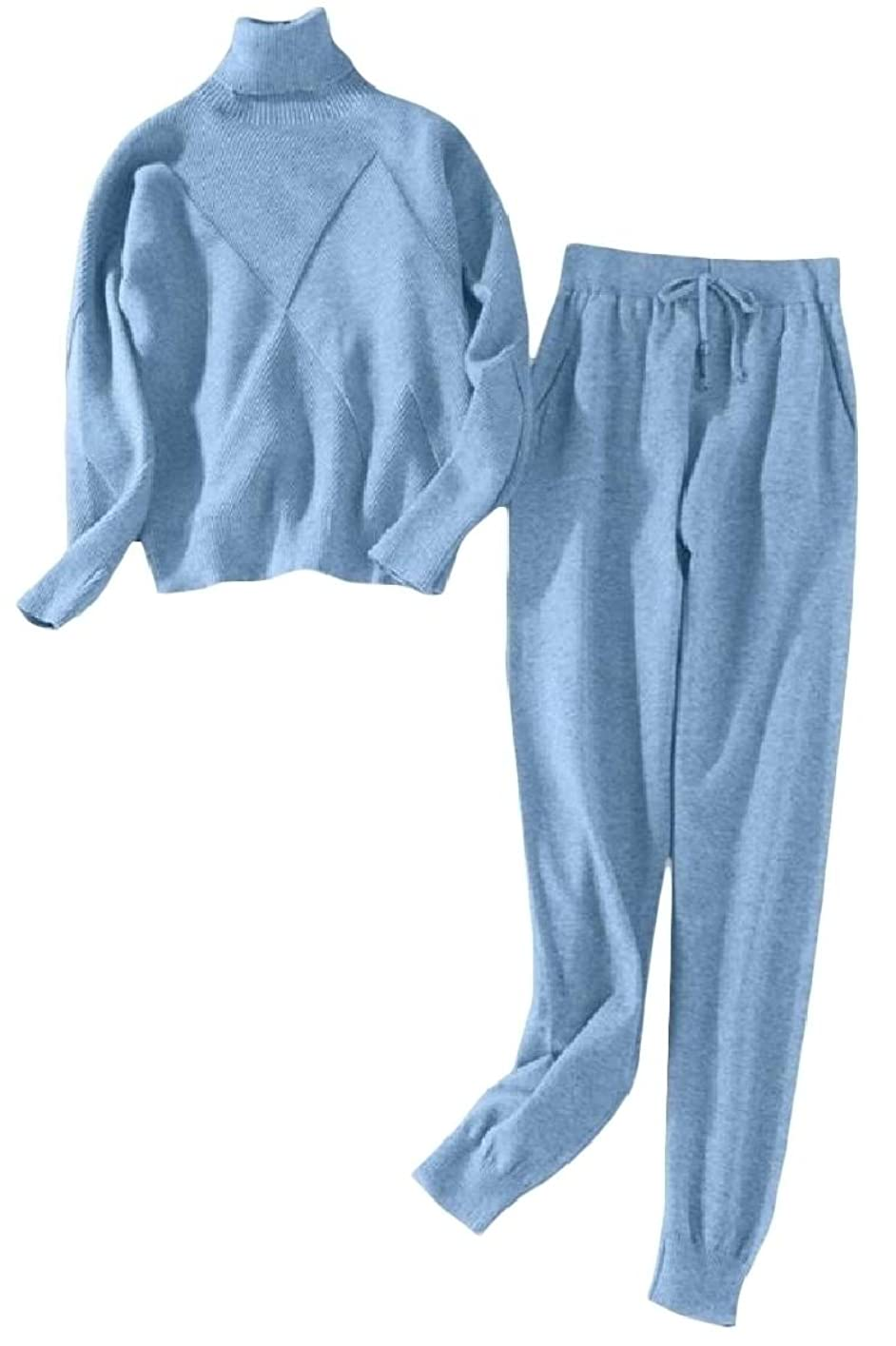 干し草崇拝する多用途女性スリムニット2ネック高ネックポケットファッションセットトラックスーツ
