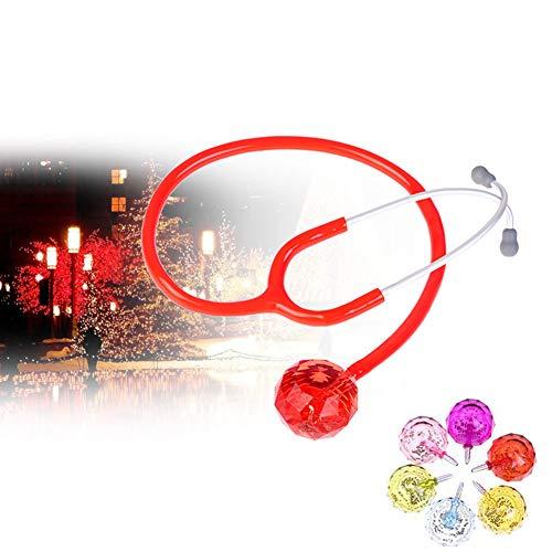 DZWJ Estetoscopio pediátrico, Cabeza de Bola de Cristal Colorida Tecnología AFD Espuma de mar Niño Infantil Respiración cardiopulmonar Sonido Pediatra Especial,Rojo