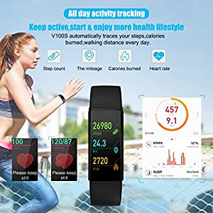 2021 Version Fitness Tracker with 24/7 Body Temperature Heart Rate Sleep Health Monitor, IP68 Waterproof Activity Tracker, Steps Calories Counter Pedometer Smart Watch for Men Women Teens (BLK)