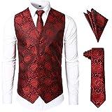 JOGAL Men's 3pc Paisley Vest Necktie Pocket Square Set for Suit or Tuxedo Large SV08 RedBlack