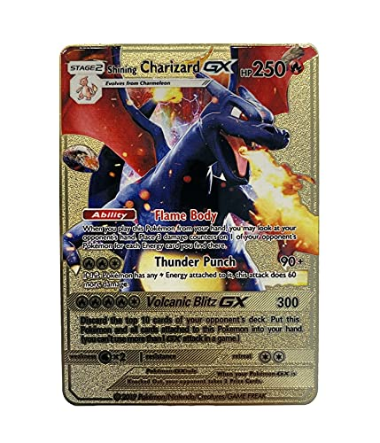 Charizard GX Pokémon Gold Card - Collector's Rare Shiny Gold Purple - Limited Supply