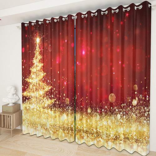 MOZBFYL Ojales Térmicas Aislantes Cortinas 150X166Cm, para Dormitorio Salon Cocina Habitacion Infantil Cortinas 2 Piezas - Navidad