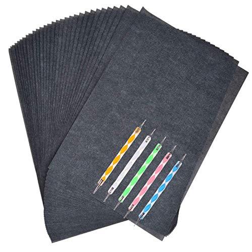 Kohlepapier Din a4, Kopierpapier Wiederverwendbares Schwarzes Kohlepapier für Holz Leinwand Keramikpapier Muster Wörter übertragen 100 Stück, mit Einrückungspunktstift 5 Stück, Büroklammer 5 Stück