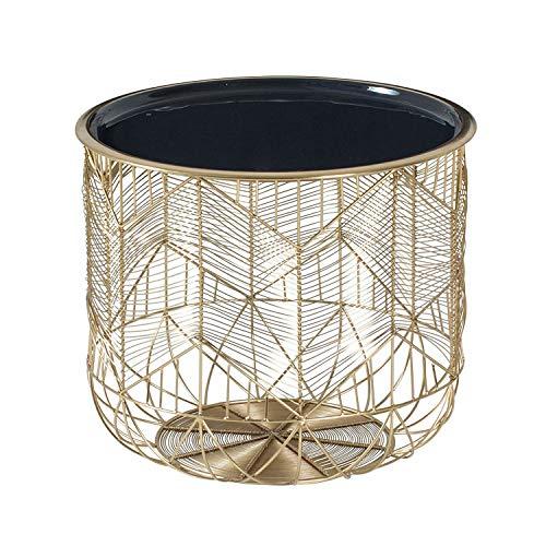 DuNord Design Beistelltisch Gold grau 42cm Metall rund Korbtisch