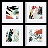 ArtbyHannah 10 x 10 Inch 4 Panels Wall Art Framed Poster White Picture Frame Collage Set with Mat Modern Abstract Wall Art Décor with Tropical Botanical Plant Prints for Gallery Wall Kit or Home Bedroom Decoration