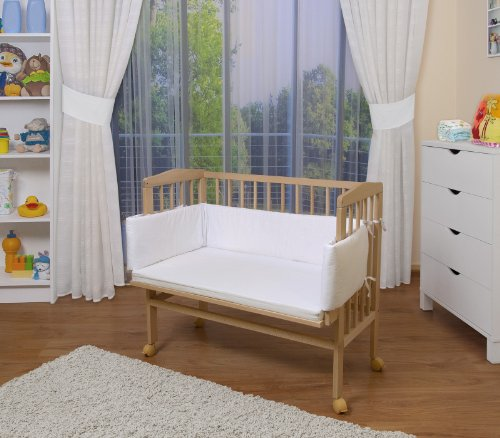 WALDIN Lit cododo pour bébé/berceau avec matelas et tour de lit,bois non traité,16 modèles disponibles,Surface de couchage extra large : L 90 x l 55,couleur du textile blanc