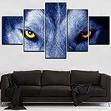 WZYWLH 5 Unidades Feroz Lobo Ojos Imágenes Arte de la Pared Cartel de Los Animales Decorativos para El Hogar Marco Modular Moderno Lona HD Pinturas Impresas
