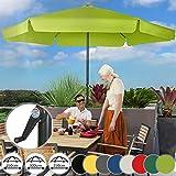 Sonnenschirm in Ø 2,5m / 3m / 3,5m - in Farbwahl, Wasserabweisender Schirmbezug, mit Krempe und Kurbel, aus Stahlrohr - Marktschirm, Gartenschirm, Terrassenschirm, Ampelschirm (Ø 3,5 m, Hellgrün)