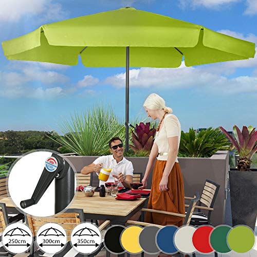 Sonnenschirm in Ø 2,5m / 3m / 3,5m - in Farbwahl, Wasserabweisender Schirmbezug, mit Krempe und Kurbel, aus Stahlrohr - Marktschirm, Gartenschirm, Terrassenschirm, Ampelschirm (Ø 3 m, Hellgrün)