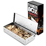 Koach Smoker Box for Wood Chips,Barbecue Accessories Smoker Box for Charcoal and Gas Barbecue,Add Color and Fragrance to Ingredients