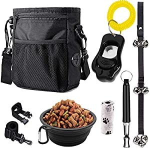 PupsNTails Dog Training Kit – Puppy and Dog Training Treat Pouch,Adjustable Training Clicker,House Training Doorbells,Collapsible Dog Bowl,Whistle-Tools for Small to Large Dogs