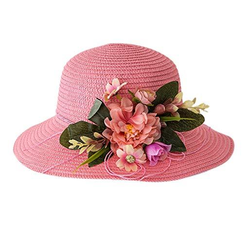 ALXY Netter Kinderstrohhut, Sommer-Baby-atmungsaktiver Hut, Strohhut Sonnenhut, Baby-Strandhut, geeignet für Kinder im Alter von 2-6 (Farbe : PK)