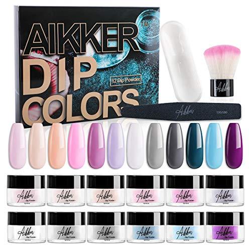 Aikker 15pcs Acrylic Dip Powder Nail Kit 12 Summer Colour with Powder Jar Dust Brush Nail File AK15