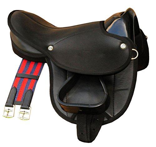 Reitsport Amesbichler AMKA Pony-Shettysattel LittleBilly, komplettes Set auch für Holzpferde - schwarz Sattelset für Pony oder Shetty oder Holzpferde